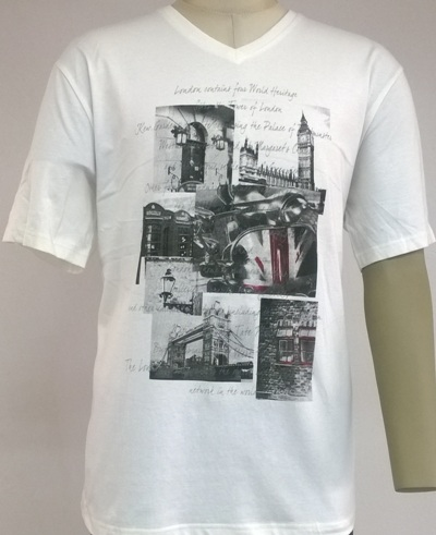 Mens V-neck T-shirt with photo print