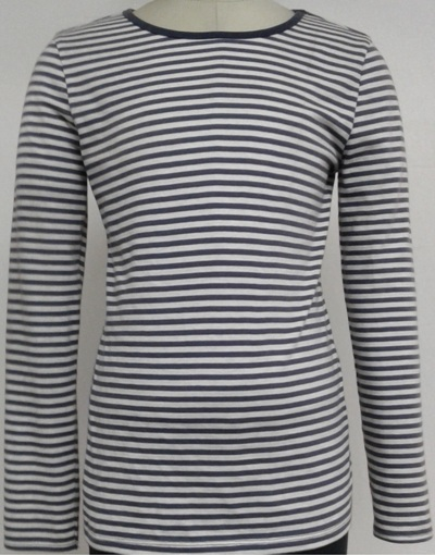 Ladies long sleeve feeder stripe T-shirt